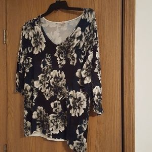 Black with white flowers sweater